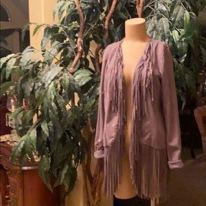 Long sleeve gray fringe jacket